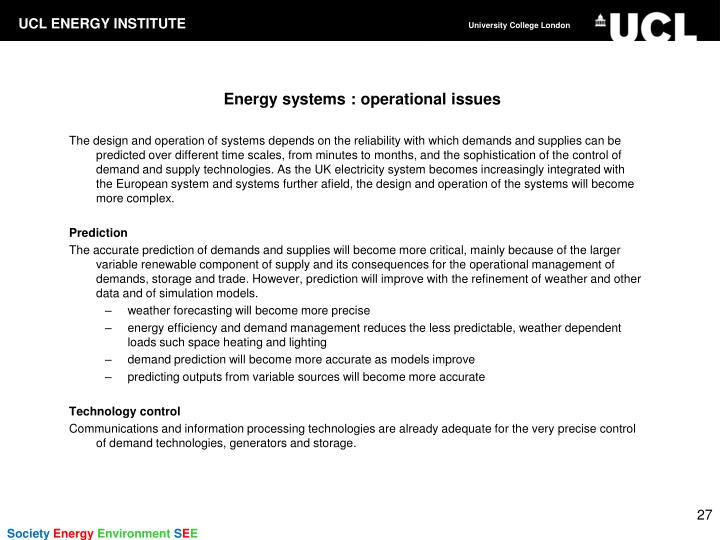 Energy systems : operational issues