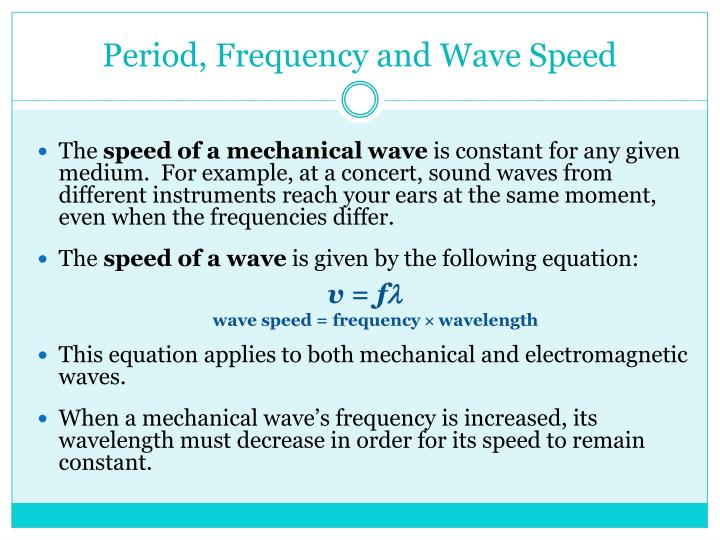 Period, Frequency and Wave Speed