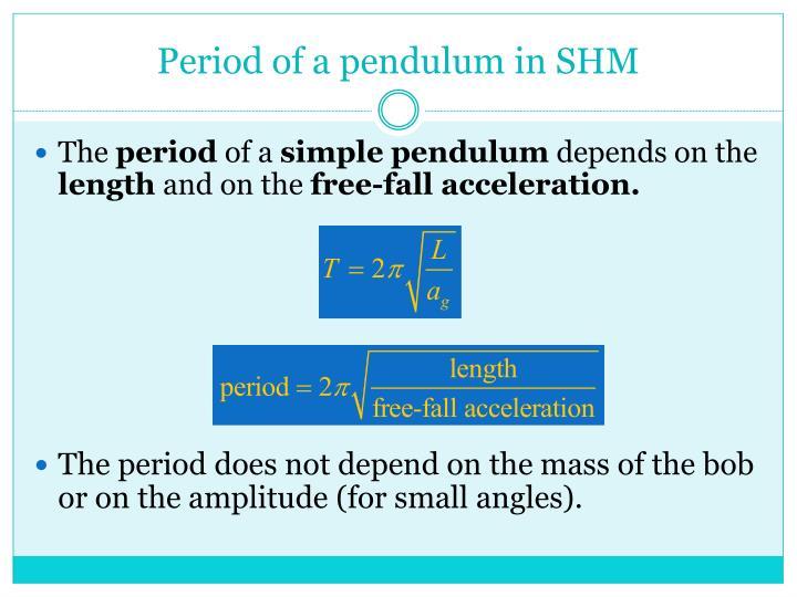 Period of a pendulum in SHM
