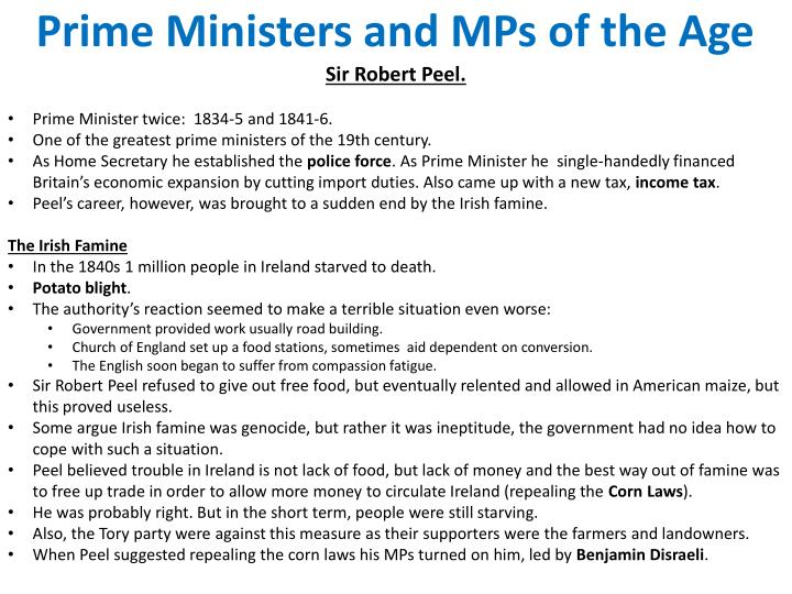 Prime Ministers and MPs of the Age