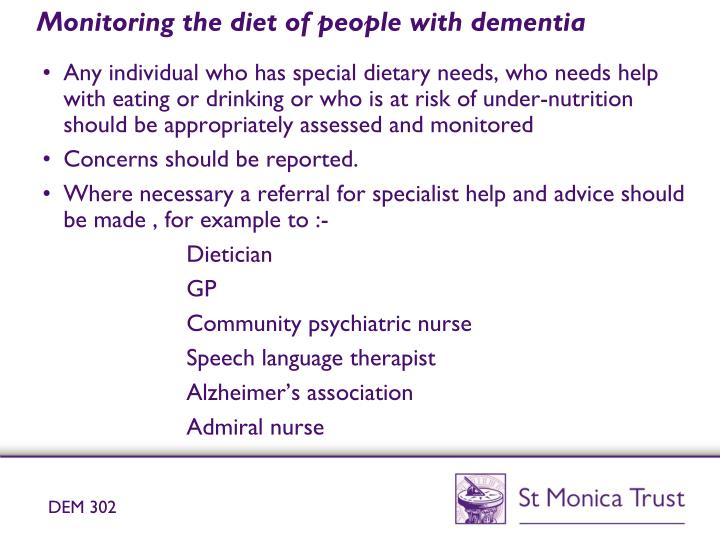 nutritional requirements of individuals with dementia The qualifications in awareness of dementia and dementia care are aimed at occupational areas understand and meet the nutritional requirements of individuals with.