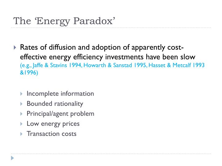 The 'Energy Paradox'