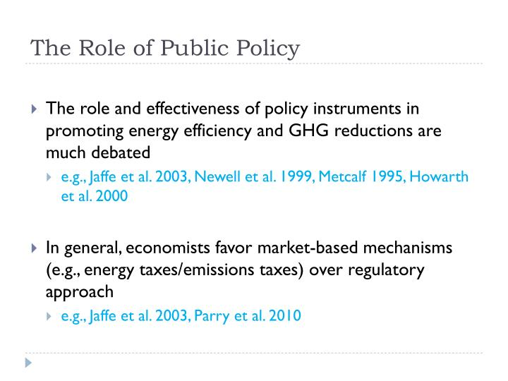 The Role of Public Policy
