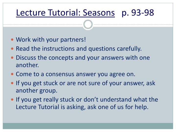 Lecture Tutorial: Seasons