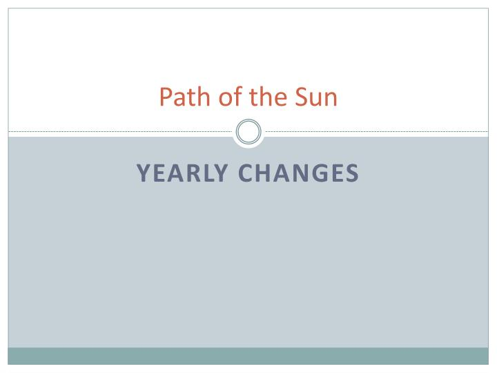 Path of the Sun