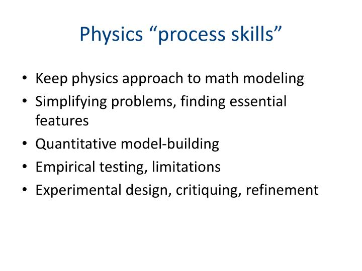 "Physics ""process skills"""
