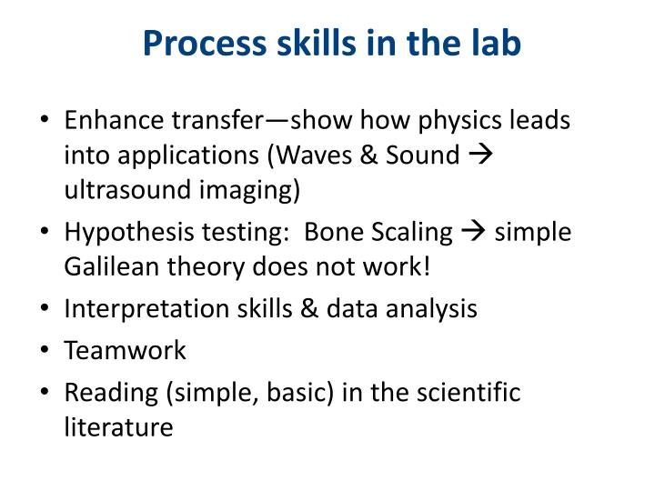 Process skills in the lab