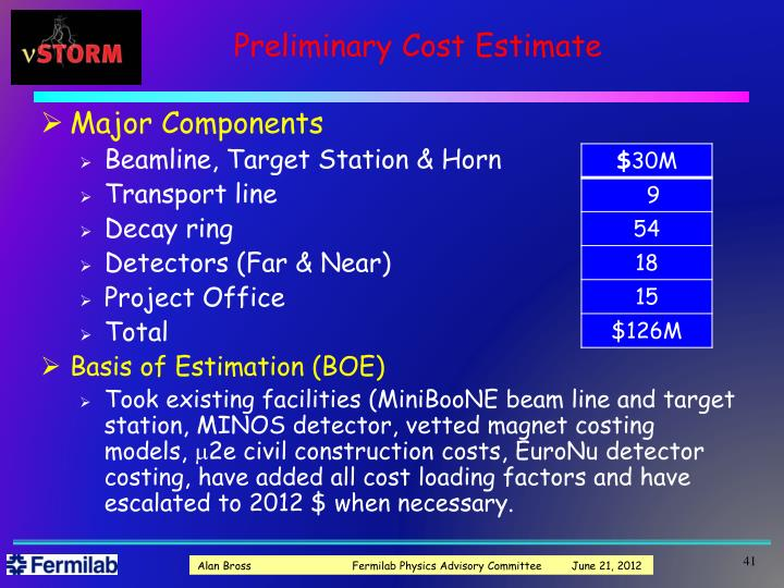 Preliminary Cost Estimate