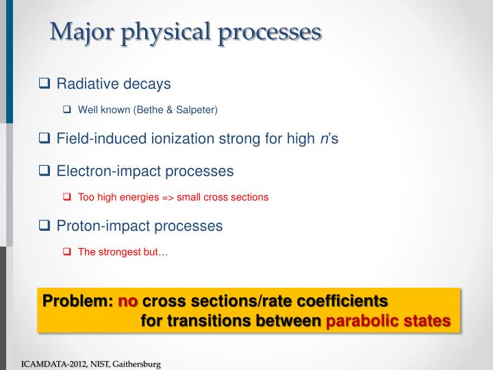 Major physical processes