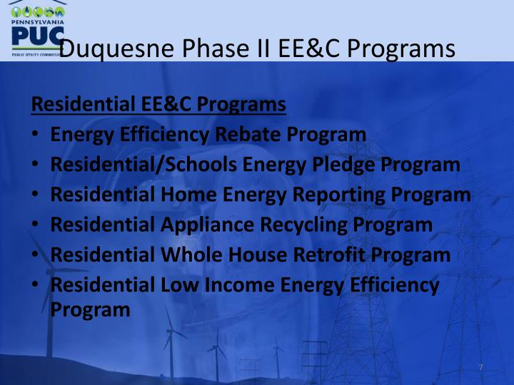 Duquesne Phase II EE&C Programs