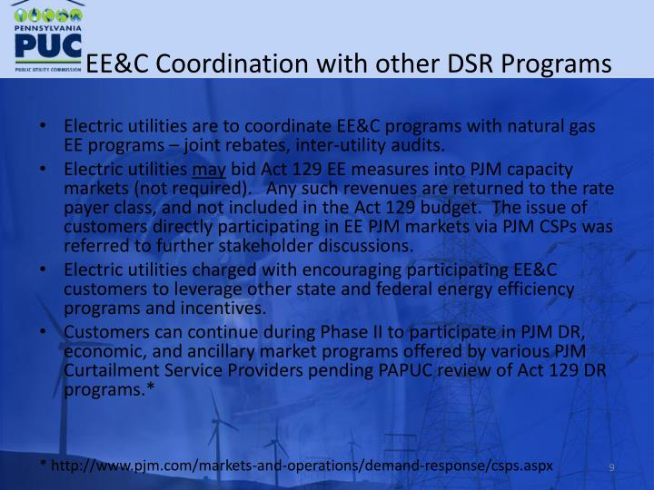 EE&C Coordination with other DSR Programs