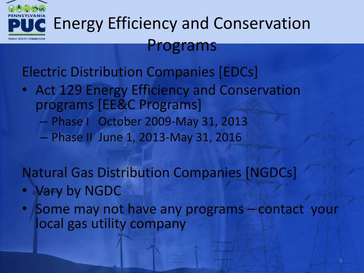 Energy efficiency and conservation programs