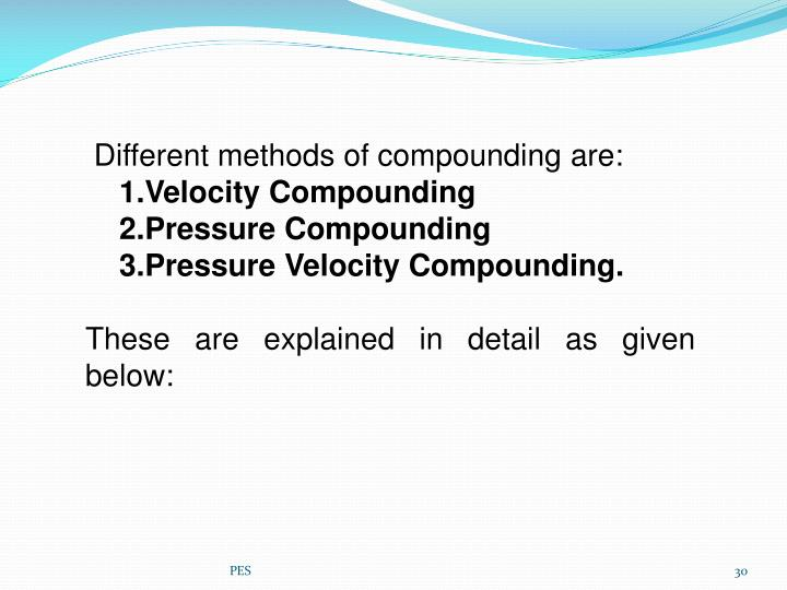 Different methods of compounding are: