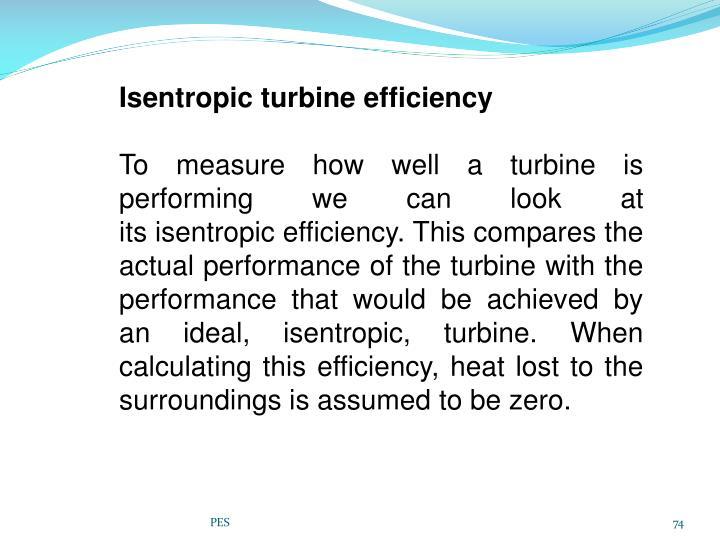 Isentropic turbine efficiency