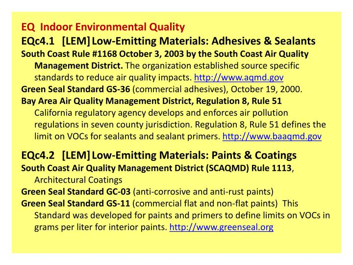EQ  Indoor Environmental Quality