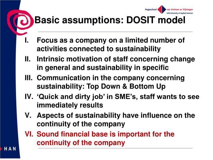 Basic assumptions: DOSIT model