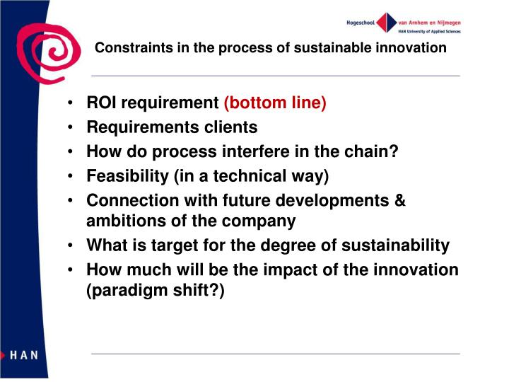 Constraints in the process of sustainable innovation