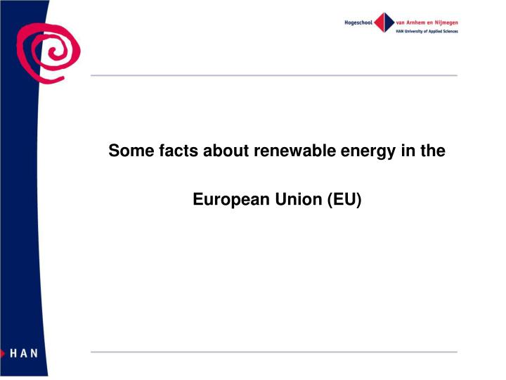 Some facts about renewable energy in the
