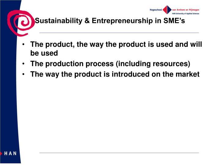 Sustainability & Entrepreneurship in SME's