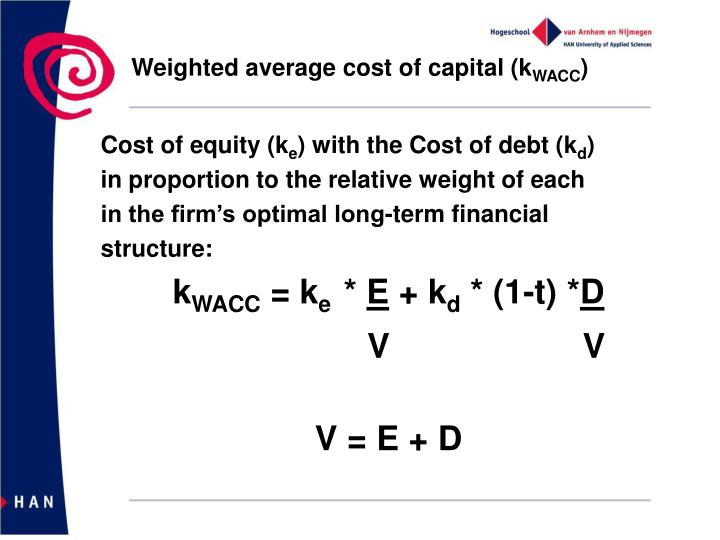 Weighted average cost of capital (k