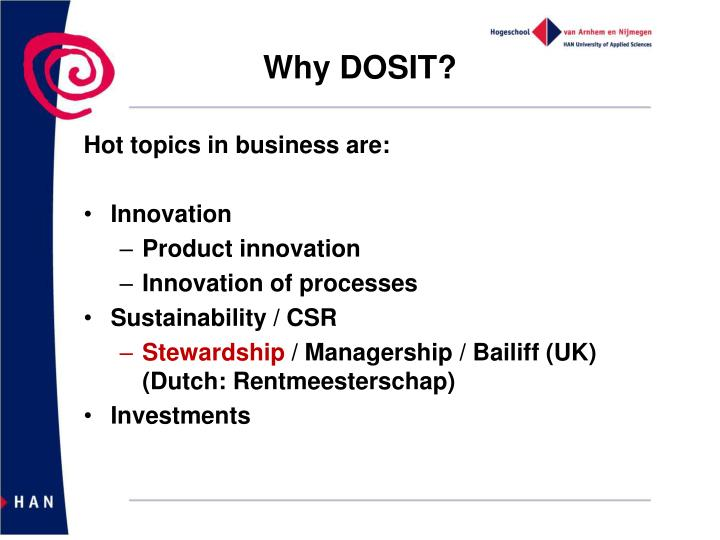 Why DOSIT?