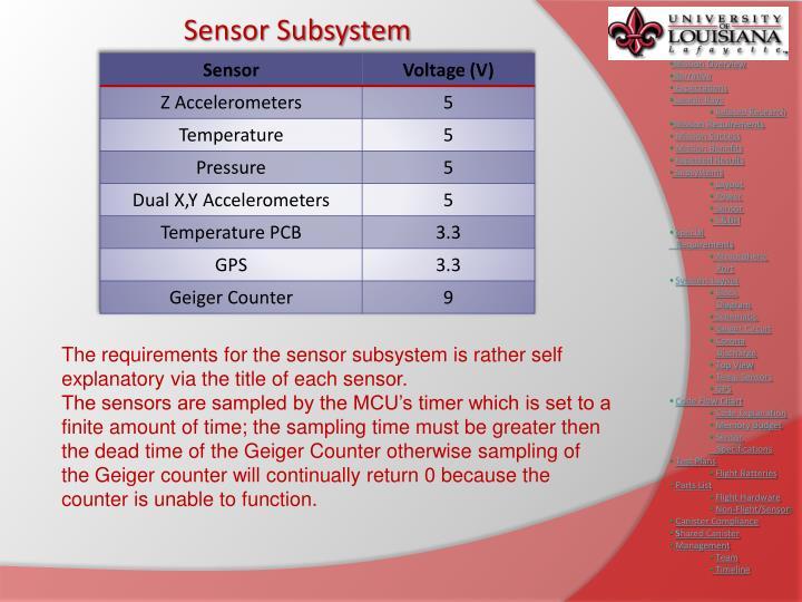 Sensor Subsystem
