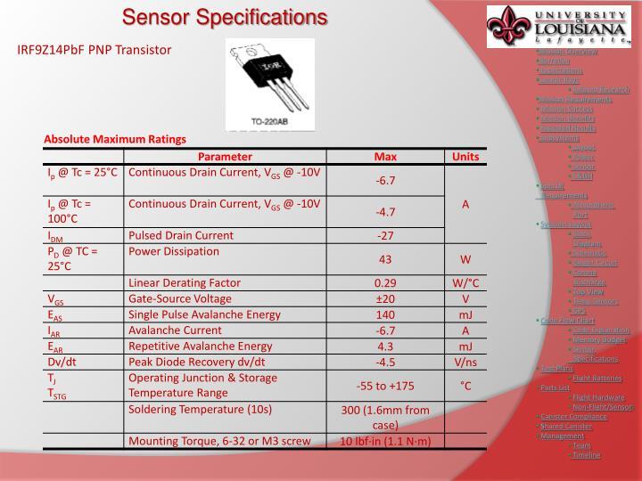 Sensor Specifications