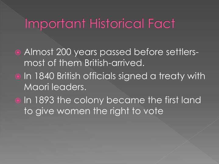Important Historical Fact