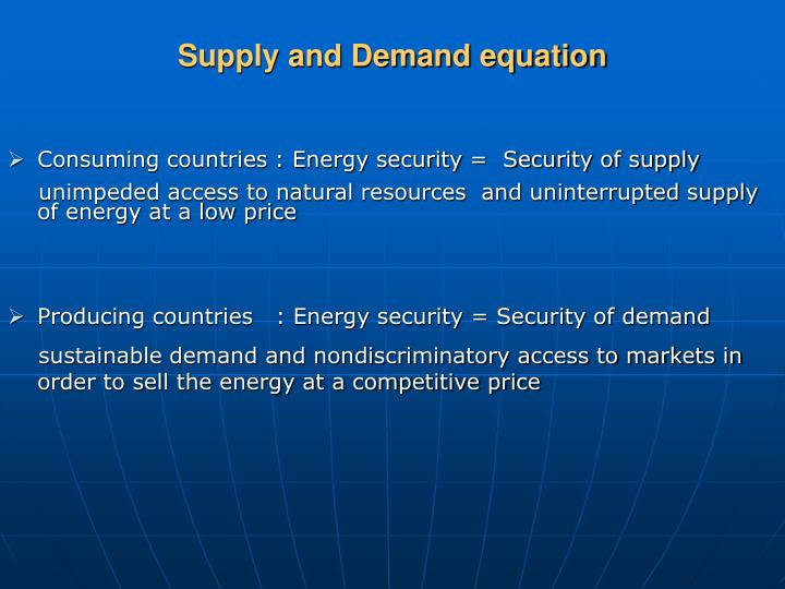Supply and Demand equation