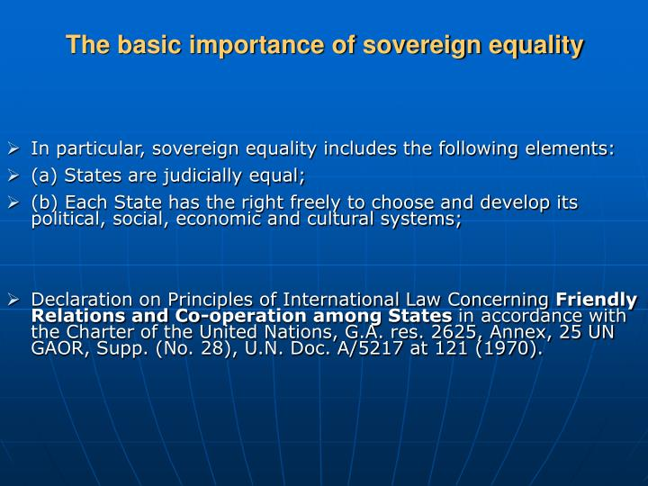 The basic importance of sovereign equality