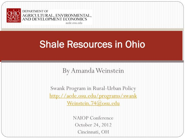 Shale resources in ohio
