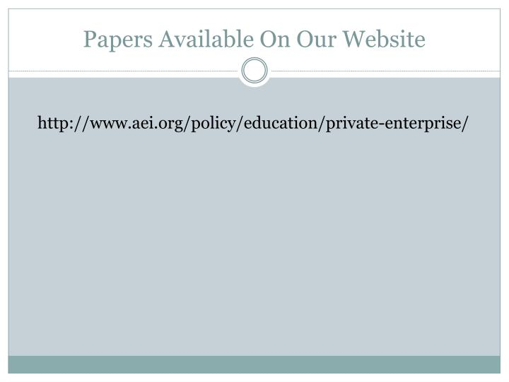 Papers Available On Our Website