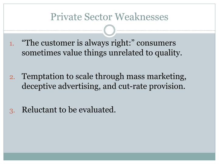 Private Sector Weaknesses