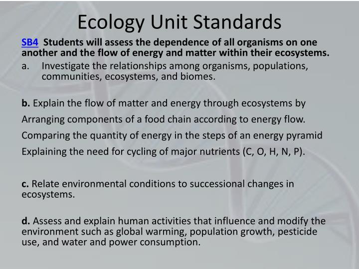 Ecology Unit Standards