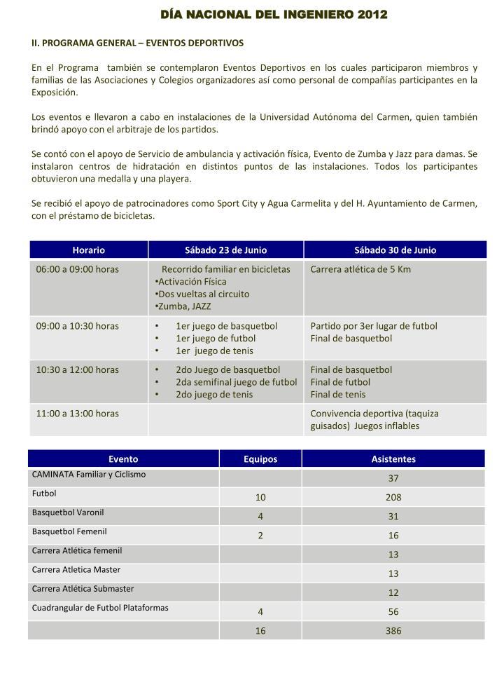 II. PROGRAMA GENERAL – EVENTOS DEPORTIVOS