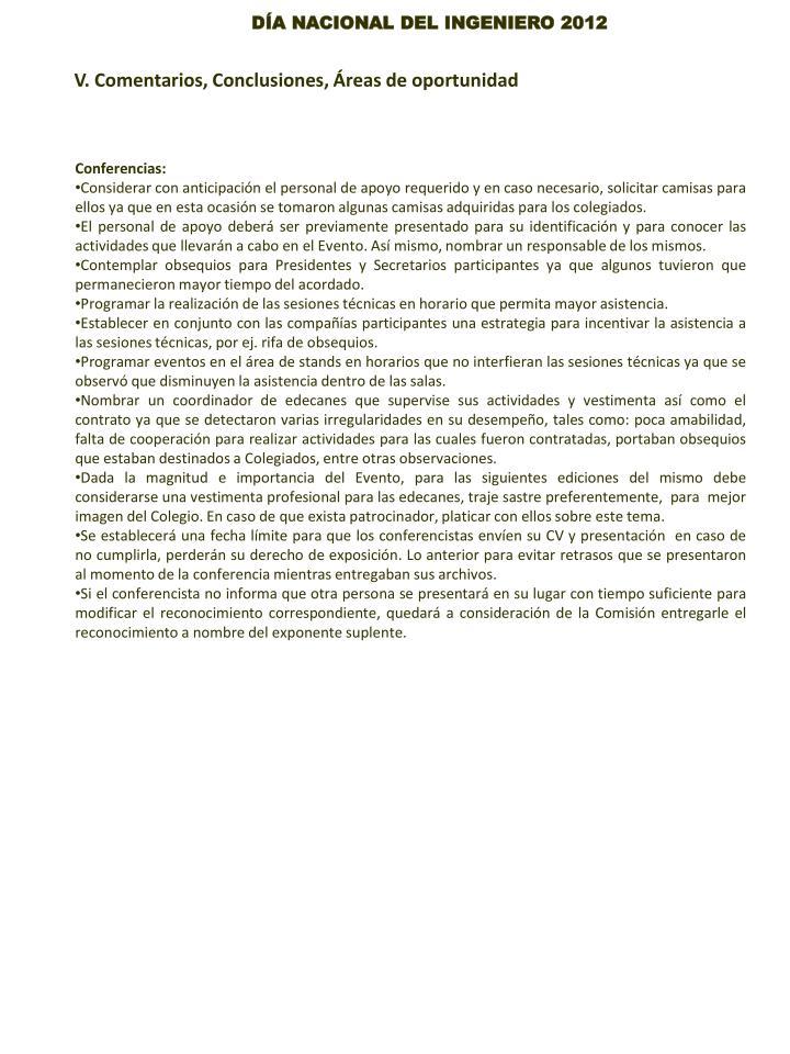 V. Comentarios, Conclusiones, Áreas de oportunidad