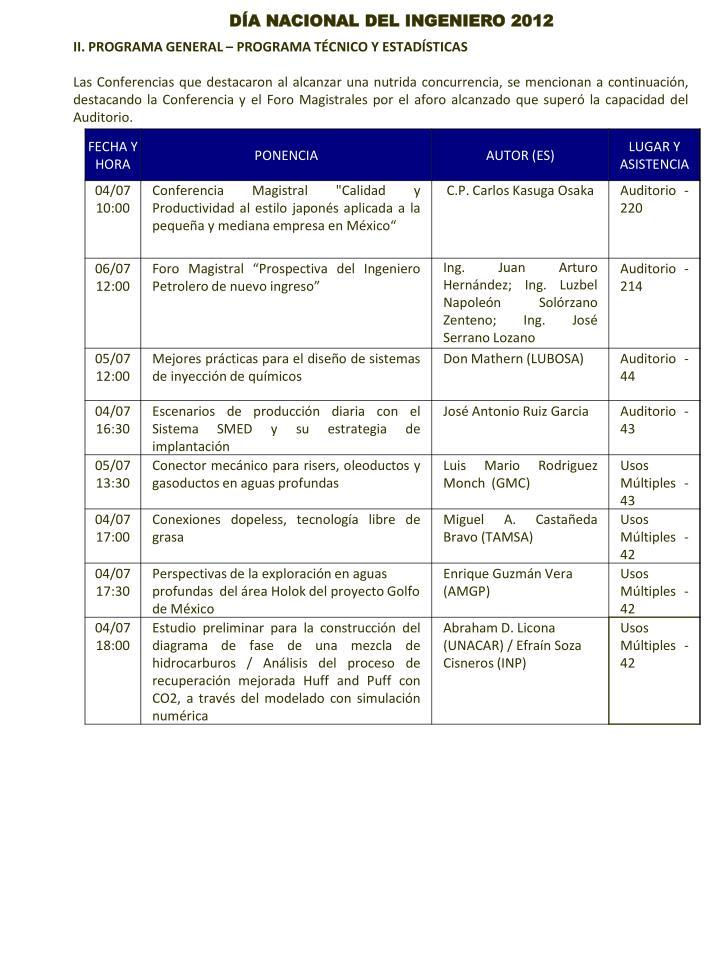 II. PROGRAMA GENERAL – PROGRAMA TÉCNICO Y ESTADÍSTICAS