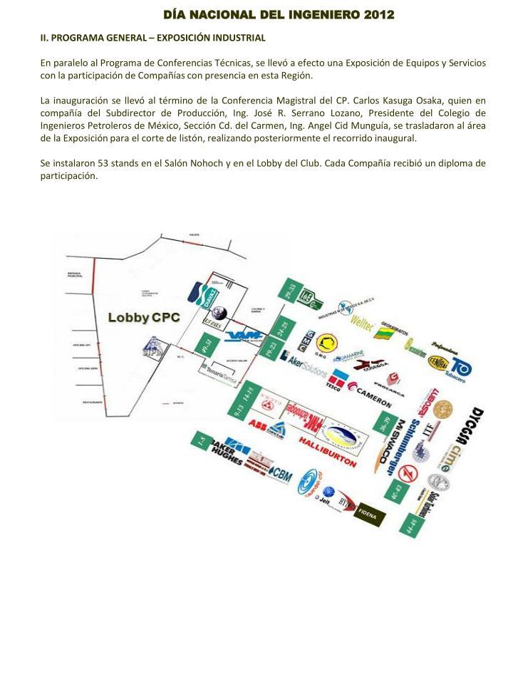 II. PROGRAMA GENERAL – EXPOSICIÓN INDUSTRIAL