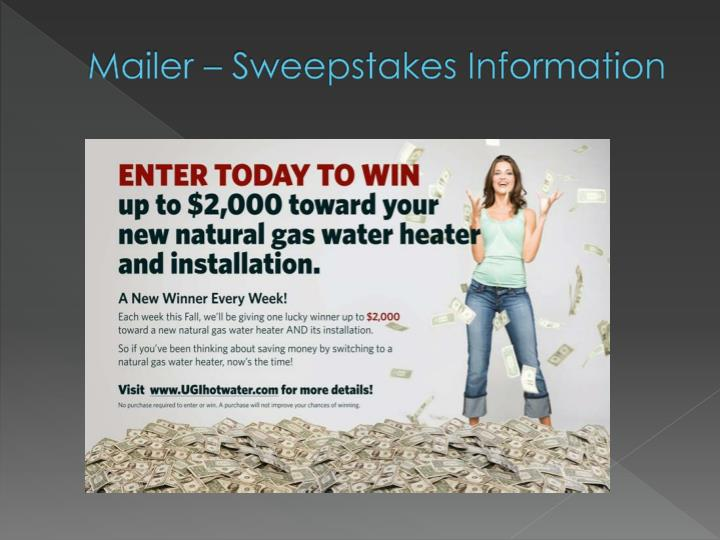 Mailer – Sweepstakes Information