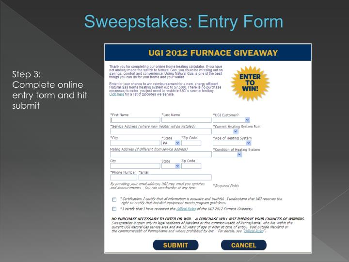 Sweepstakes: Entry Form