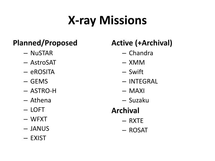 X ray missions