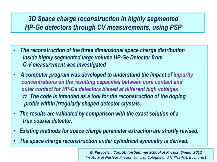 3D Space charge reconstruction in highly segmented