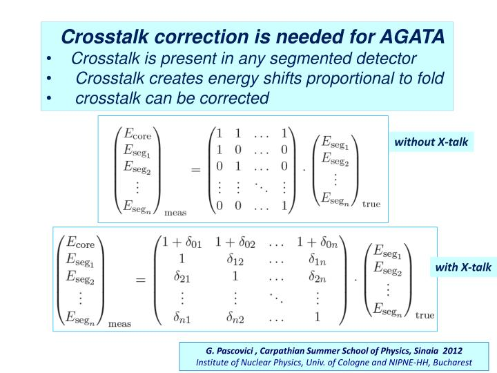 Crosstalk correction is needed for AGATA