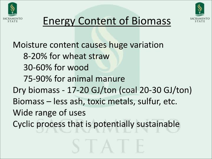 Energy Content of Biomass