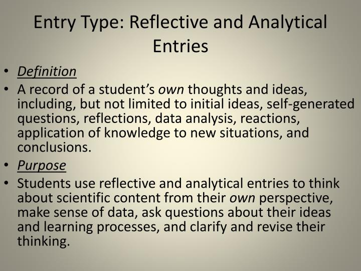 Entry Type: Reflective and Analytical Entries