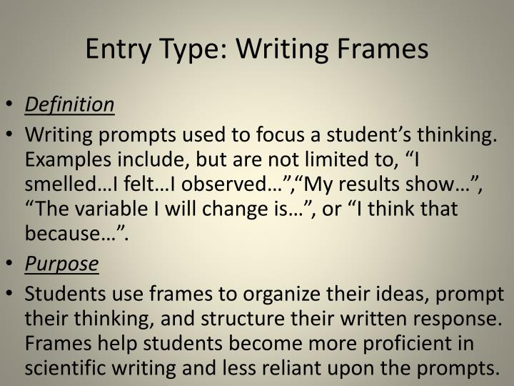 Entry Type: Writing Frames