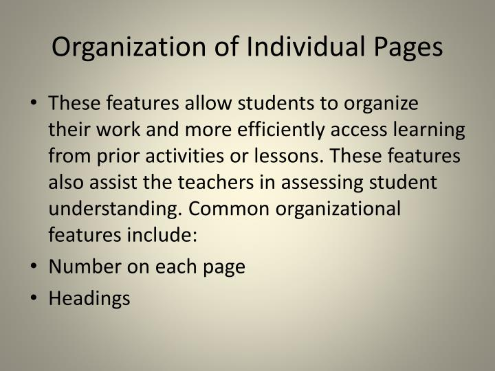 Organization of Individual Pages