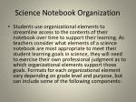 science notebook organization