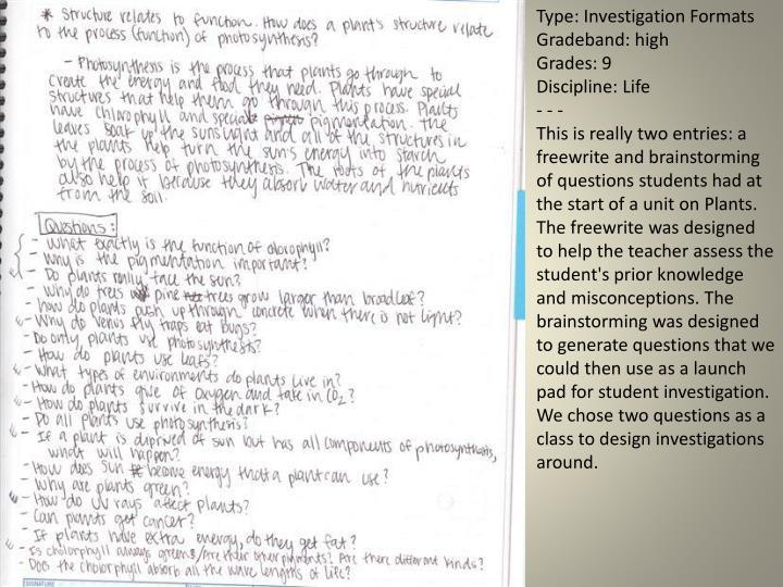 Type: Investigation Formats
