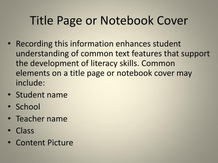 Title Page or Notebook Cover